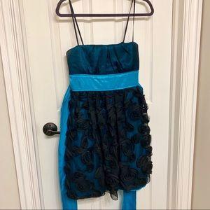 Black rose overlay blue spaghetti strap dress